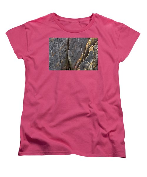 Women's T-Shirt (Standard Cut) featuring the photograph Black Granite Abstract Two by Peter J Sucy