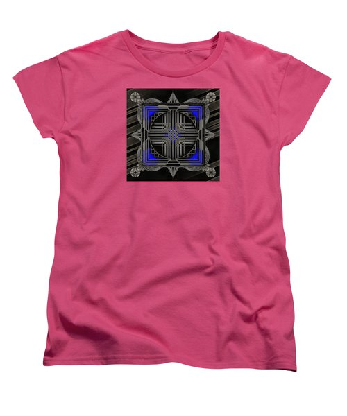 Women's T-Shirt (Standard Cut) featuring the digital art Black Mandala by Mario Carini