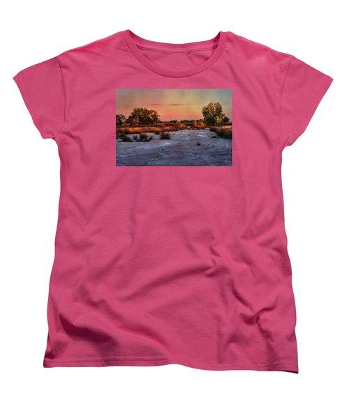 Women's T-Shirt (Standard Cut) featuring the photograph Black Squirrel Creek Fall Scape by Ellen Heaverlo