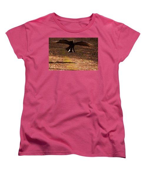 Women's T-Shirt (Standard Cut) featuring the digital art Black Vulture Landing by Chris Flees