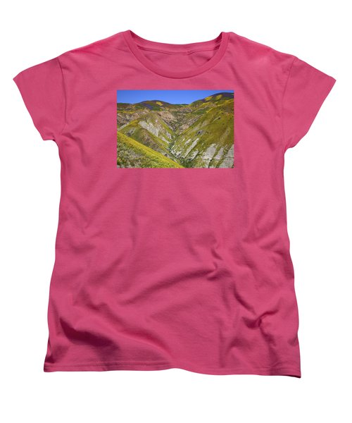Blanket Of Wildflowers Cover The Temblor Range At Carrizo Plain National Monument Women's T-Shirt (Standard Cut) by Jetson Nguyen
