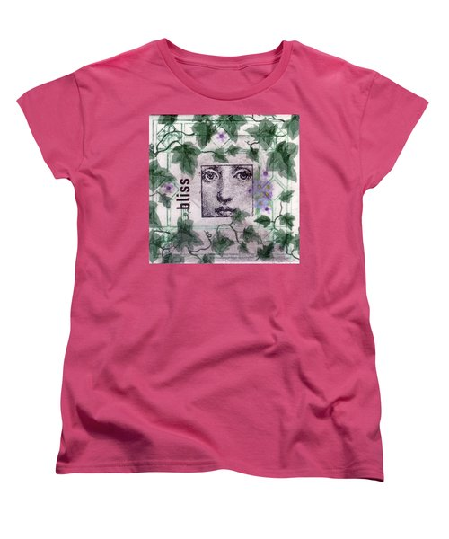 Women's T-Shirt (Standard Cut) featuring the mixed media Bliss On Tile by Desiree Paquette