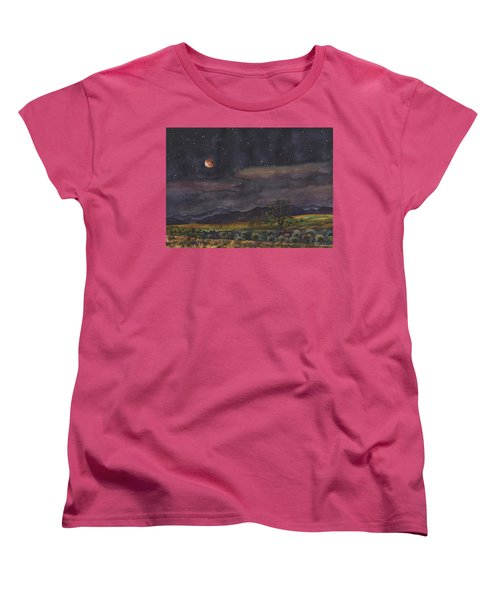 Women's T-Shirt (Standard Cut) featuring the painting Blood Moon Over Boulder by Anne Gifford