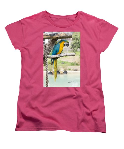 Blue And Gold Macaw Women's T-Shirt (Standard Cut) by Ricky Dean