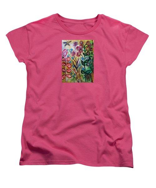 Blue Bug In The Magic Garden Women's T-Shirt (Standard Cut)