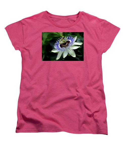 Blue Crown Passion Flower Women's T-Shirt (Standard Cut) by Debbie Oppermann