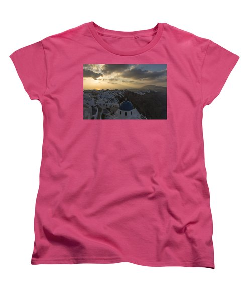 Women's T-Shirt (Standard Cut) featuring the tapestry - textile Blue Dome - Santorini by Kathy Adams Clark