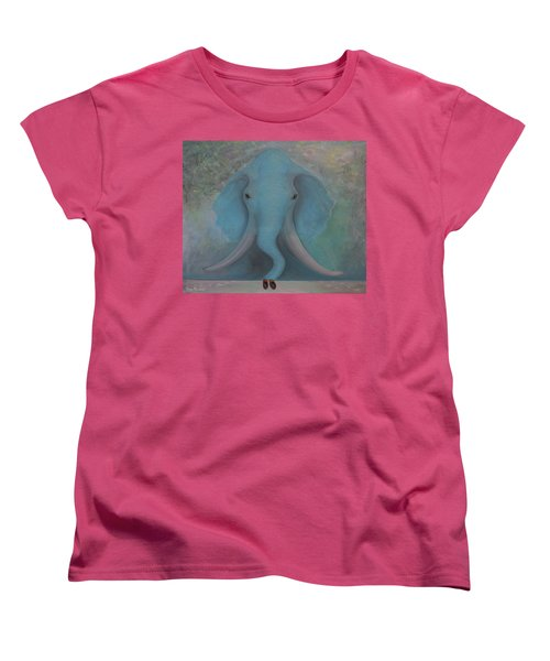 Women's T-Shirt (Standard Cut) featuring the painting Blue Elephant by Tone Aanderaa