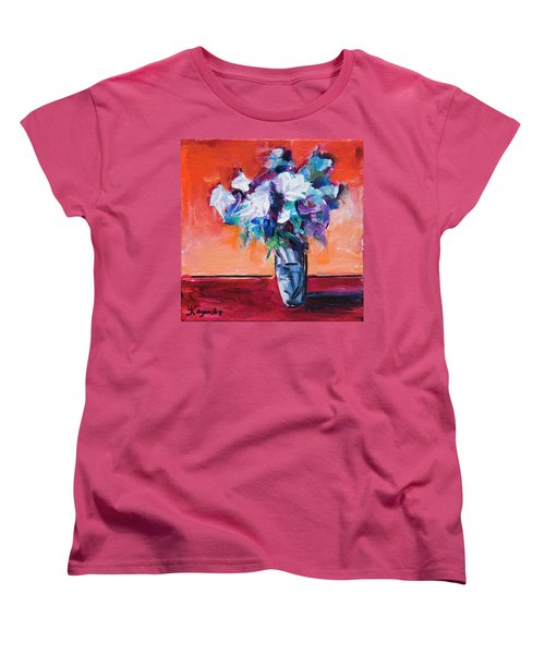 Blue Flowers In A Vase Women's T-Shirt (Standard Cut) by Yulia Kazansky