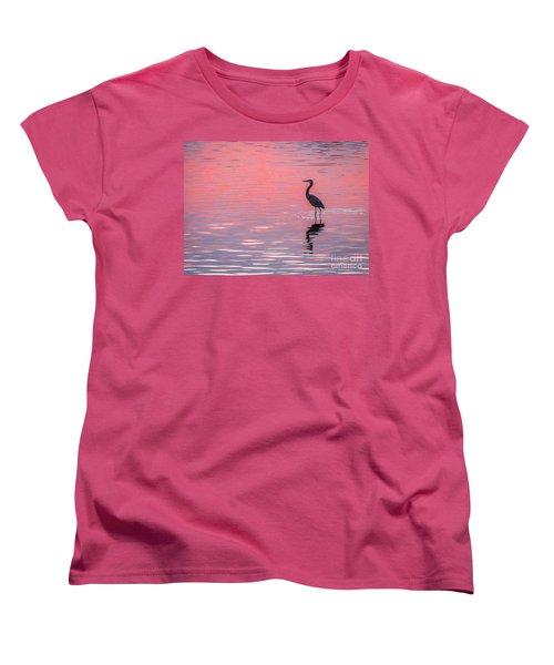 Blue Heron - Pink Water Women's T-Shirt (Standard Cut) by Tom Claud