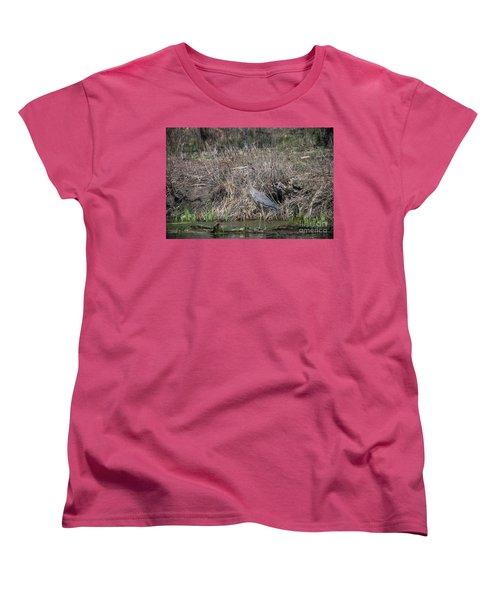 Women's T-Shirt (Standard Cut) featuring the photograph Blue Heron Stalking Dinner by David Bearden