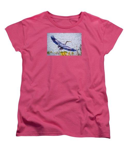 Blue Heron  Take Off  Women's T-Shirt (Standard Cut) by Peggy Franz