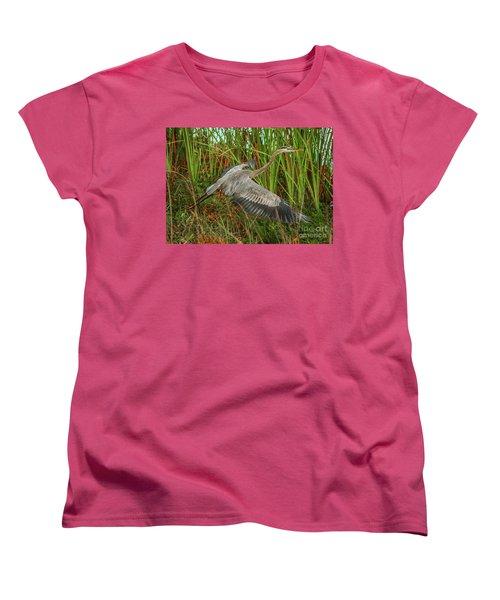 Blue Heron Take-off Women's T-Shirt (Standard Cut) by Tom Claud