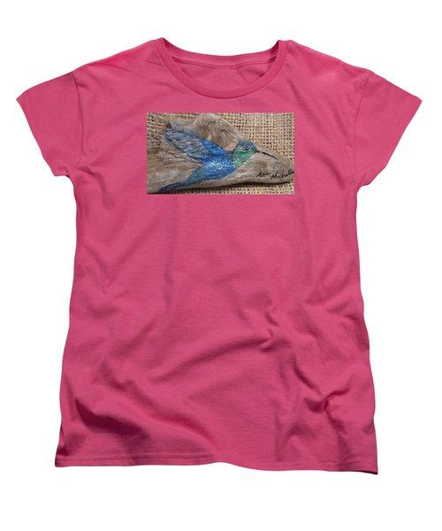 Blue Hummingbird Women's T-Shirt (Standard Cut) by Ann Michelle Swadener
