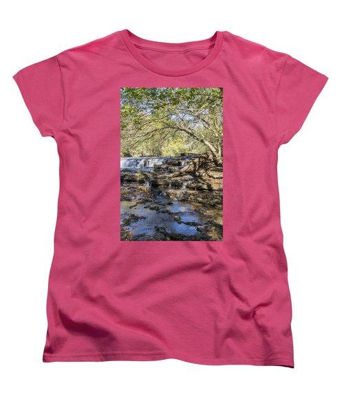 Blue Puddle Falls Women's T-Shirt (Standard Cut) by Ricky Dean