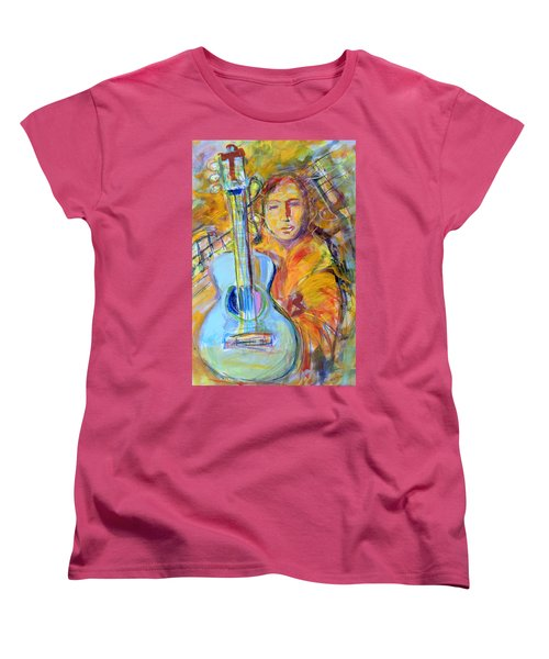 Women's T-Shirt (Standard Cut) featuring the painting Blue Quitar by Mary Schiros