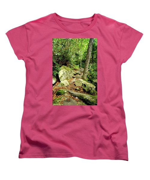 Women's T-Shirt (Standard Cut) featuring the photograph Blue Ridge Parkway Hiking Trail by Meta Gatschenberger
