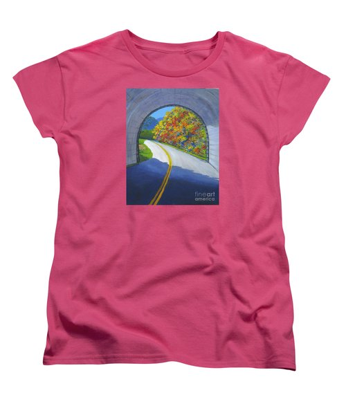 Blue Ridge Tunnel Women's T-Shirt (Standard Cut) by Anne Marie Brown