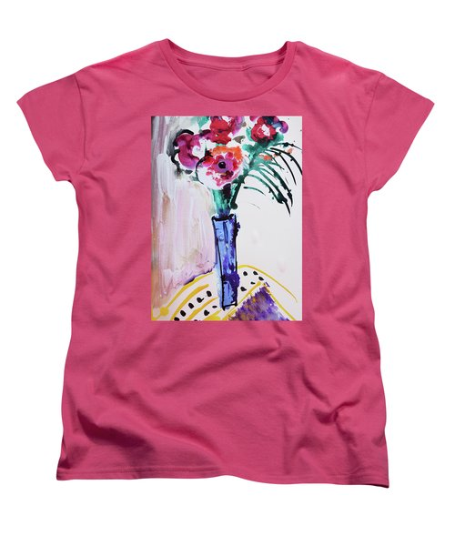 Blue Vase With Red Wild Flowers Women's T-Shirt (Standard Cut) by Amara Dacer