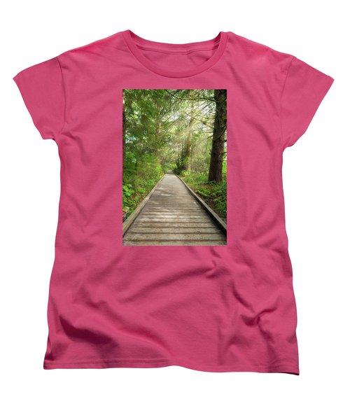 Boardwalk Along Hiking Trail At Fort Clatsop Women's T-Shirt (Standard Fit)