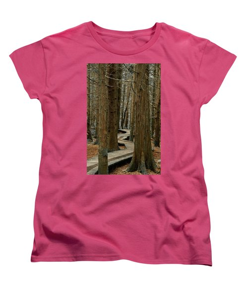 Boardwalk Among Trees Women's T-Shirt (Standard Cut) by Scott Holmes