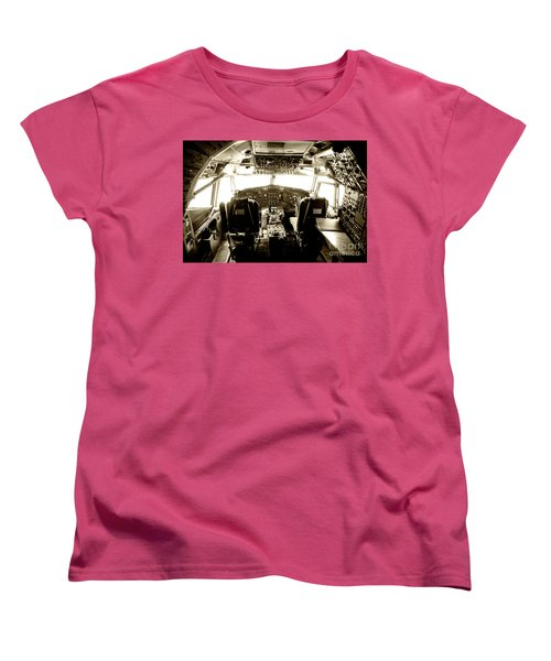 Women's T-Shirt (Standard Cut) featuring the photograph Boeing 747 Cockpit 21 by Micah May