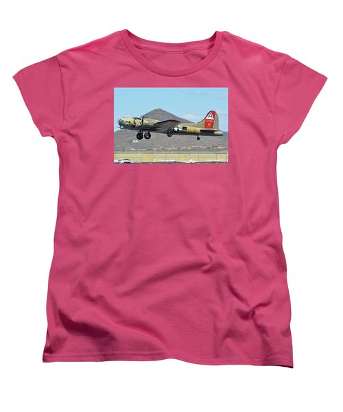 Women's T-Shirt (Standard Cut) featuring the photograph Boeing B-17g Flying Fortress N93012 Nine-o-nine Deer Valley Arizona April 13 2016 by Brian Lockett