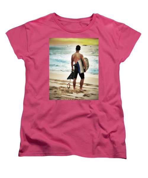 Women's T-Shirt (Standard Cut) featuring the photograph Boggie Boarder At Waimea Bay by Jim Albritton
