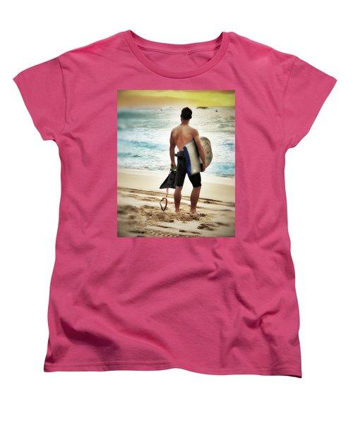 Boggie Boarder At Waimea Bay Women's T-Shirt (Standard Cut)