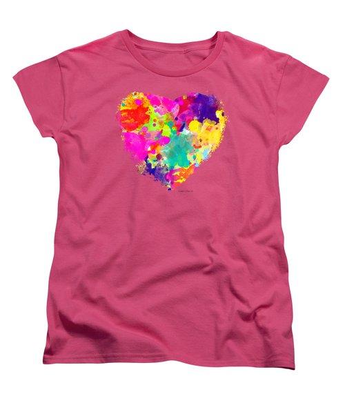 Bold Watercolor Heart - Tee Shirt Design Women's T-Shirt (Standard Cut) by Debbie Portwood