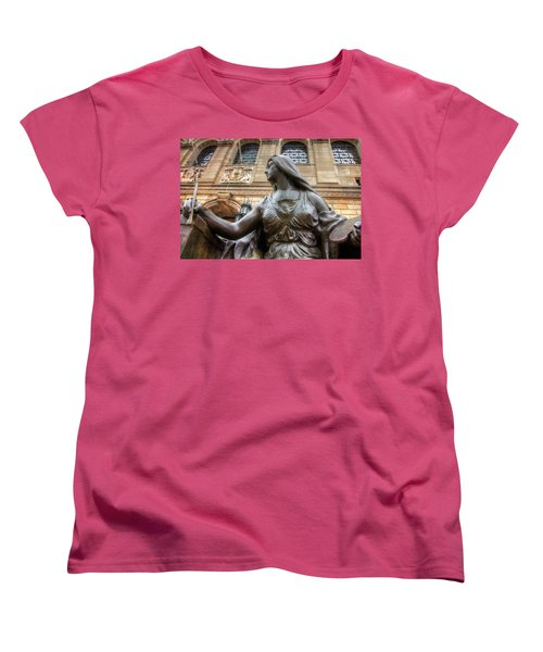 Women's T-Shirt (Standard Cut) featuring the photograph Boston Public Library Lady Sculpture by Joann Vitali