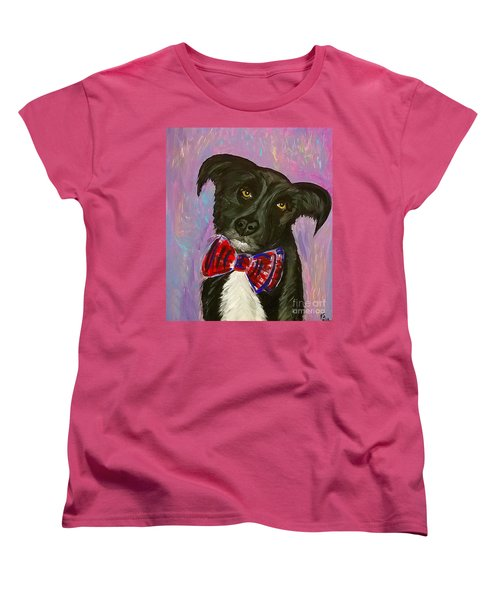 Women's T-Shirt (Standard Cut) featuring the painting Bow Tie Boy by Ania M Milo