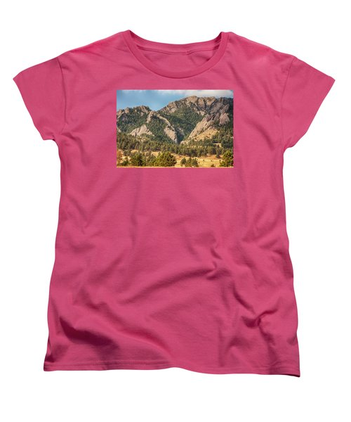 Women's T-Shirt (Standard Cut) featuring the photograph Boulder Colorado Rocky Mountain Foothills by James BO Insogna