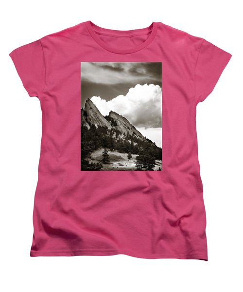 Large Cloud Over Flatirons Women's T-Shirt (Standard Cut) by Marilyn Hunt