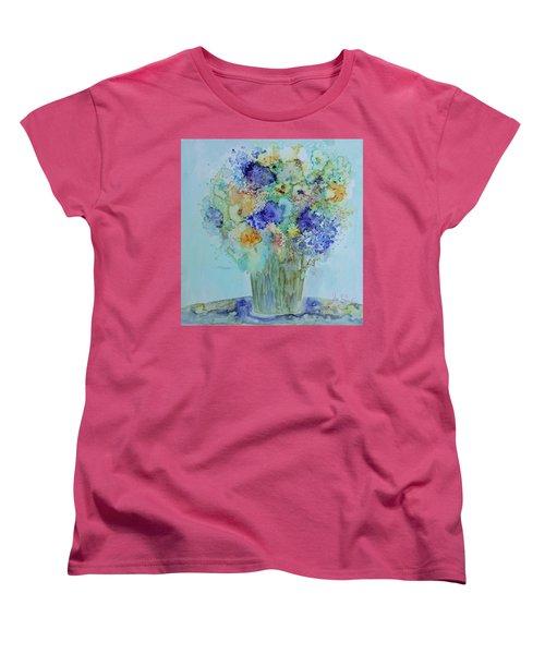 Bouquet Of Blue And Gold Women's T-Shirt (Standard Cut) by Joanne Smoley