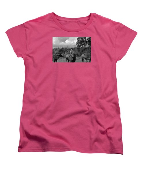 Women's T-Shirt (Standard Cut) featuring the photograph Boy And Cows by Arik S Mintorogo