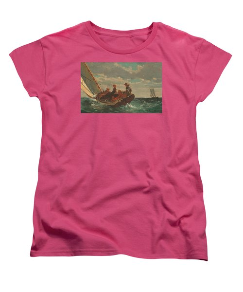 Women's T-Shirt (Standard Cut) featuring the painting Breezing Up A Fair Wind - 1876 by Winslow Homer