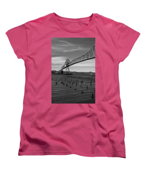 Women's T-Shirt (Standard Cut) featuring the photograph Bridge Over Columbia by Jeff Kolker