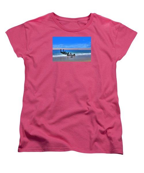 Women's T-Shirt (Standard Cut) featuring the digital art Broken Pier by Sharon Batdorf