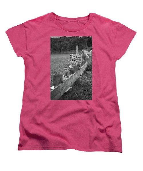 Women's T-Shirt (Standard Cut) featuring the photograph Brookfield, Vt - Floating Bridge 4 Bw by Frank Romeo