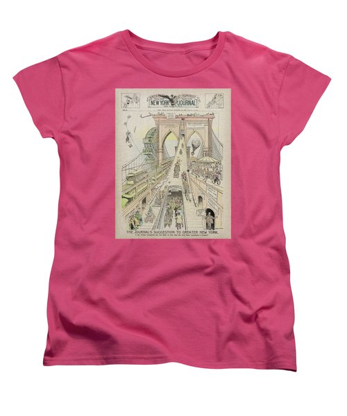 Women's T-Shirt (Standard Cut) featuring the photograph Brooklyn Bridge Trolley Right Of Way Controversy 1897 by Daniel Hagerman