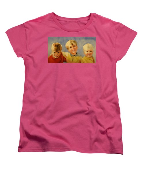 Women's T-Shirt (Standard Cut) featuring the painting Brothers by Marilyn Jacobson