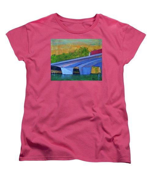 Women's T-Shirt (Standard Cut) featuring the painting Brunswick River Bridge by Paul McKey