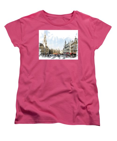 Women's T-Shirt (Standard Cut) featuring the photograph Brussels Grote Markt  by Tom Cameron