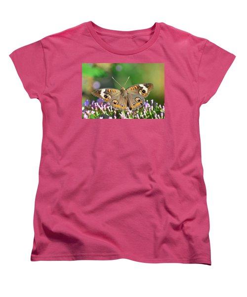 Buckeye Butterfly Women's T-Shirt (Standard Cut) by Kathy Eickenberg