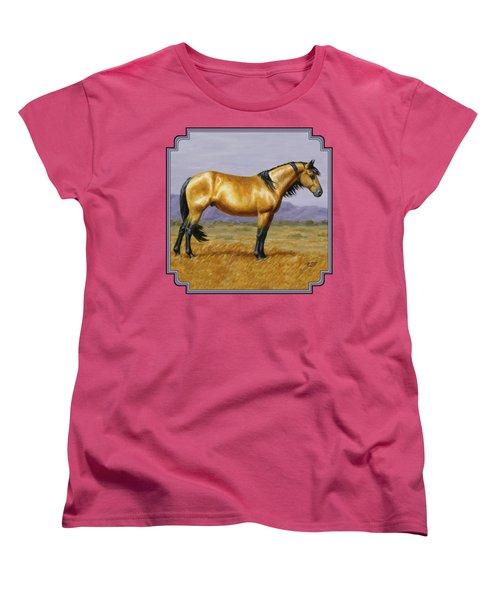 Buckskin Mustang Stallion Women's T-Shirt (Standard Cut) by Crista Forest