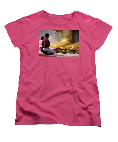 Women's T-Shirt (Standard Cut) featuring the photograph Buddhist Thai People Praying by Heiko Koehrer-Wagner