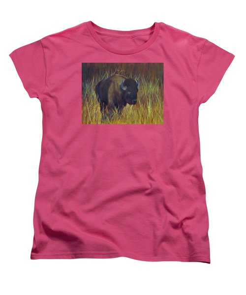 Women's T-Shirt (Standard Cut) featuring the painting Buffalo Grazing by Roseann Gilmore