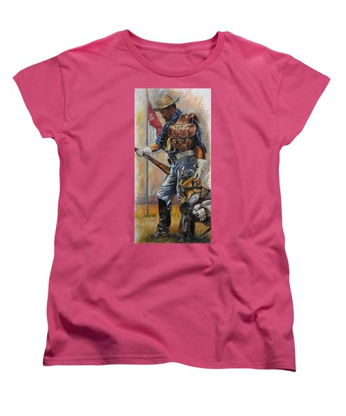 Women's T-Shirt (Standard Cut) featuring the painting Buffalo Soldier Outfitted by Harvie Brown