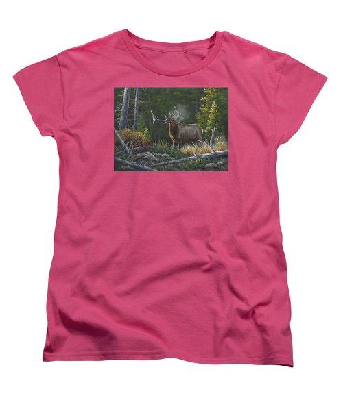 Women's T-Shirt (Standard Cut) featuring the painting Bugling Bull by Kim Lockman